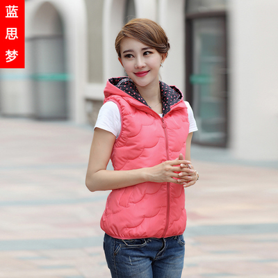 2014 new winter vest female Korean fashion hooded jacket Slim thick cotton vest vest vest short paragraph