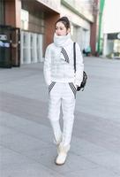 欧洲站2015年冬季新款棉服围巾三件套时尚三道杠运动棉服套装女潮