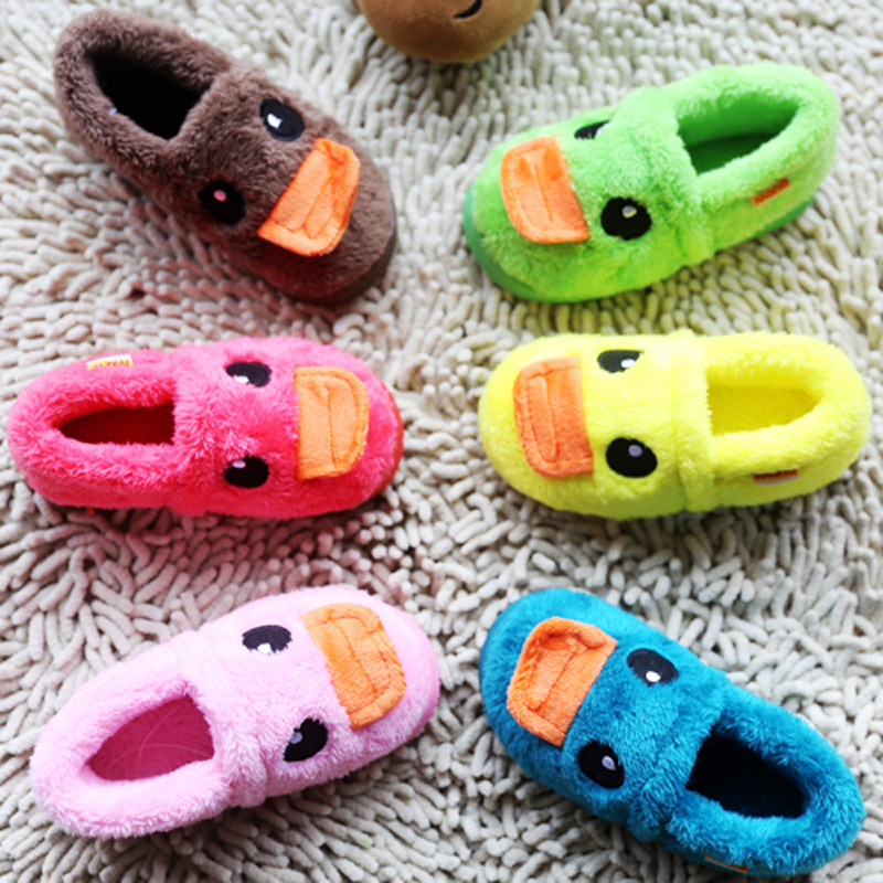 Baby shoes child models big yellow duck bag with warm home cotton slippers home family of three parent-child shoes