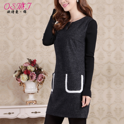 European Poetry Man Kam 2014 winter new V-neck was thin waist bottoming thick woolen skirt Korean long-sleeved dress