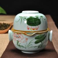 特价茶具 高白手绘快客杯一人一杯便携带旅行茶具 青花快客杯包邮