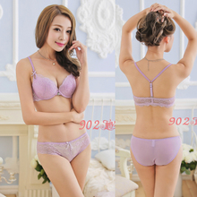 Europe and the United States button before the new girl lace bra set sexy Y type beauty underwear suit bag mail back