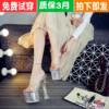 水晶鞋透明防水台18 20cm恨天高超高跟凉拖鞋超稳粗跟婚纱夜场鞋