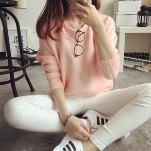 2015秋季新款韩版小清新糖果色宽松长袖短款套头打底针织衫毛衣女