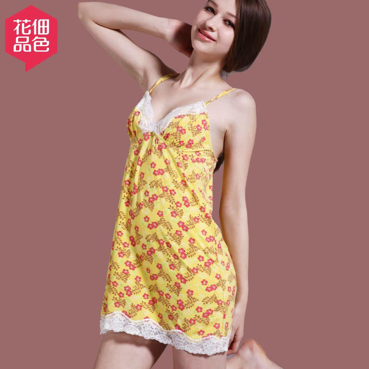 品色五月天_花佃品色 印花吊带女士睡裙莫代尔可爱印花性感蕾丝花边