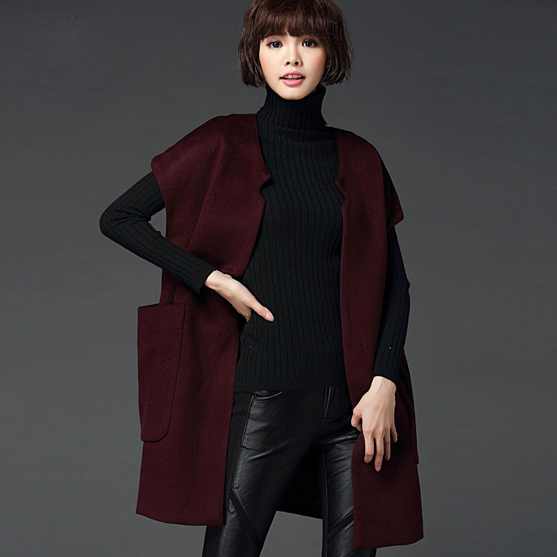 梦蝶婷2015秋冬装新品羊毛呢子风衣长款纯色短袖呢子大衣女外套