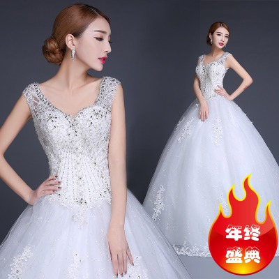 Bride wedding dress trailing new winter 2014 fashion models shoulder v-neck dress was thin big yards Korean winter