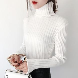 秋冬2018白色加厚加绒高领毛衣女短款套头超火针织打底衫