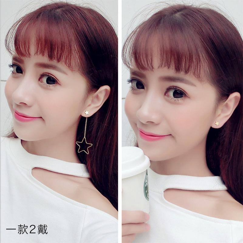 日韩简约个性女款五角星长款吊坠甜美耳线耳环女气质耳钉配饰品