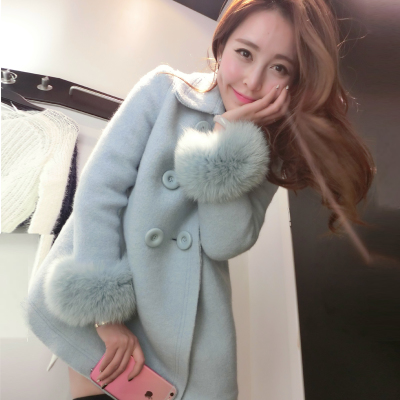 2014 new women's plus cotton long section of thick woolen coat double-breasted wool coat female fox fur women
