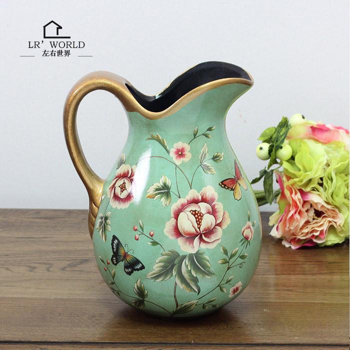 欧式乡村玫瑰奶壶插花瓶摆件