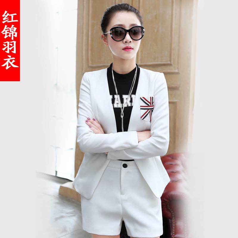 红锦羽衣 秋装新款职业套装 长袖米子旗小西装ol韩版修身外套潮女