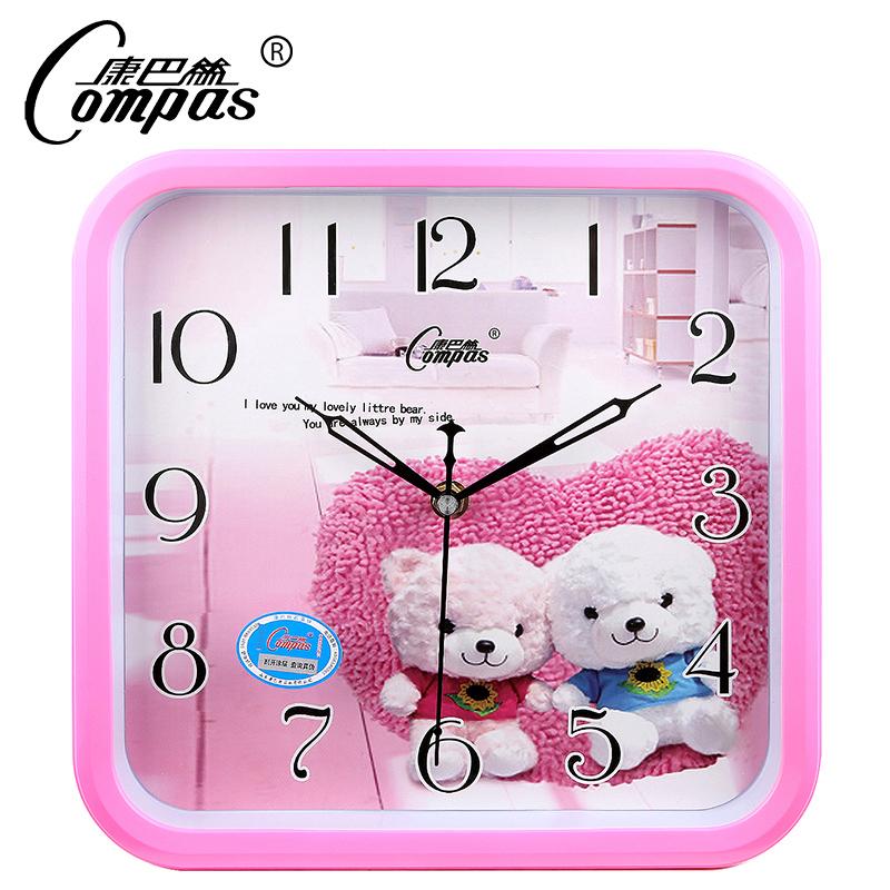 康巴丝12英寸创意时尚卡通石英钟壁钟机芯儿童卧室超静音潮流挂钟