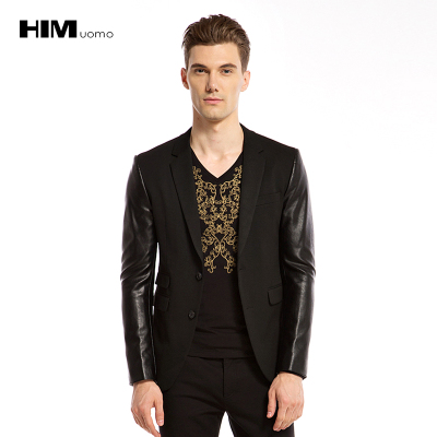Han Sung HIM 2014 new fall fashion wild Slim leather stitching simple suit jacket 501072B