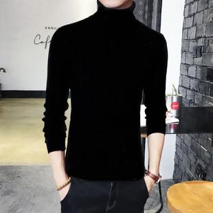 男士高领毛衣两翻领纯色打底衫紧身针织线衫加绒加厚男装
