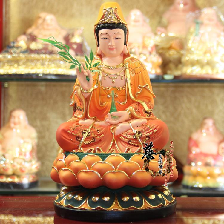 Изображения Будды, Статуи божества Статуи Guanyin Гуань Инь, сидя Lotus богиня милосердия Гуаньинь Будды украшения Тан Хуан 12 дюймовый смолы