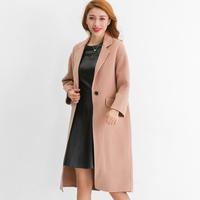 2016秋冬新款女装双面呢大衣中长款名媛气质纯手工羊绒外套驼色