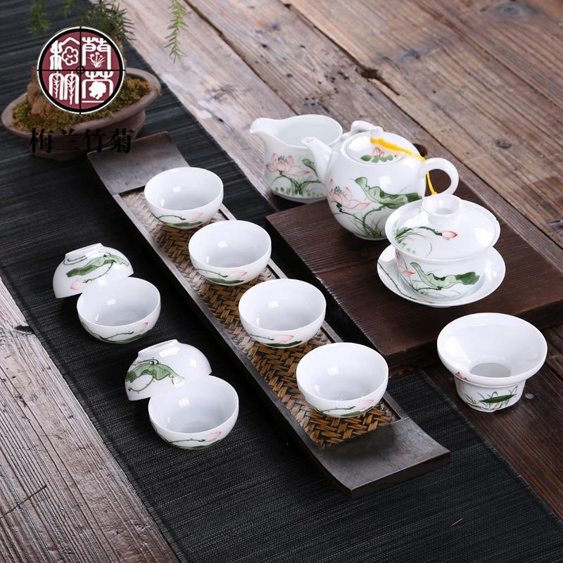 梅兰竹菊 手绘茶具套装 景德镇青花陶瓷功夫茶具整套彩绘盖碗特价