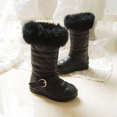 Korean children winter models fur snow boots women's shoes snow boots Knight Tall boots rabbit fur boots
