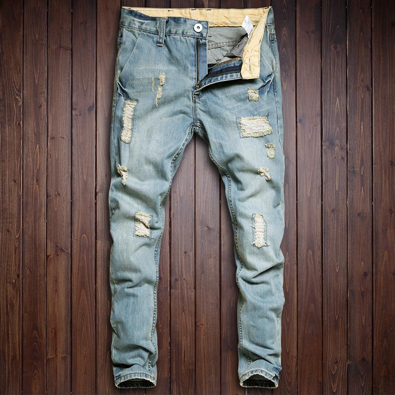韩版潮流男士浅蓝色做旧水洗补丁磨烂破洞牛仔裤小直筒男式长裤子