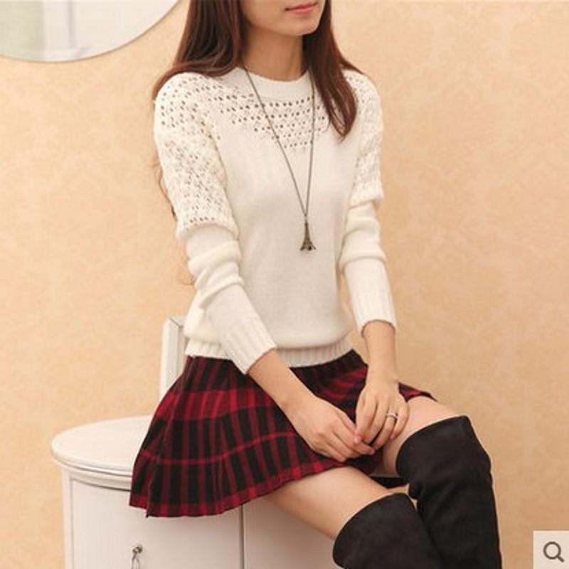 诺威羊秋装新款2015韩版女装针织衫镂空甜美毛衣长袖套头秋装新品