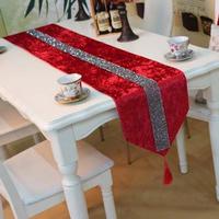 欧式高档奢华天鹅绒小钻桌旗新古典经典烫钻桌旗现代样板间床尾巾