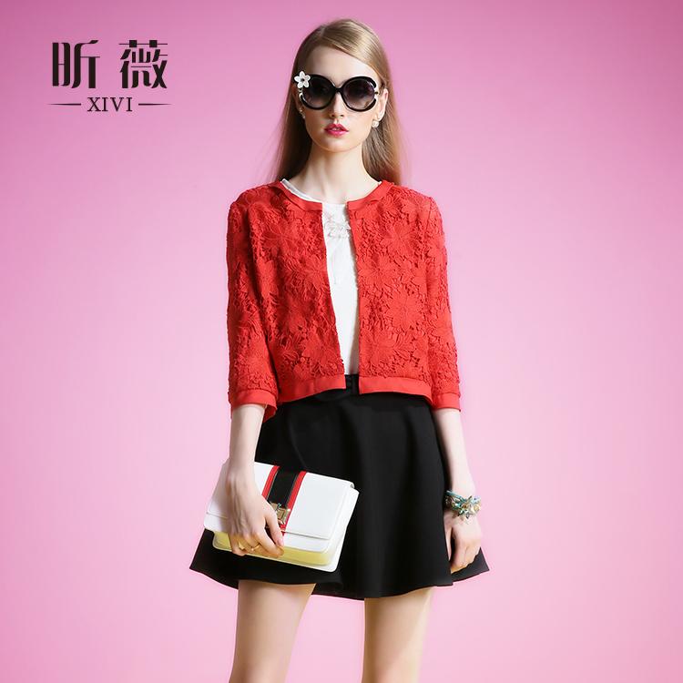 昕薇欧洲站秋装蕾丝短外套女春秋七分袖新款大红色小香风外套直筒