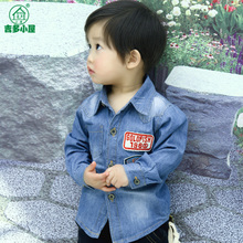 Guido Cottage Children's Clothes Fall 2014 New Model Baby Boys Long Sleeve Shirt the Korean Version Denim