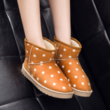 Vivala female winter leather flat with shoes boots in the canister boots male thickening frosted couple cotton shoes