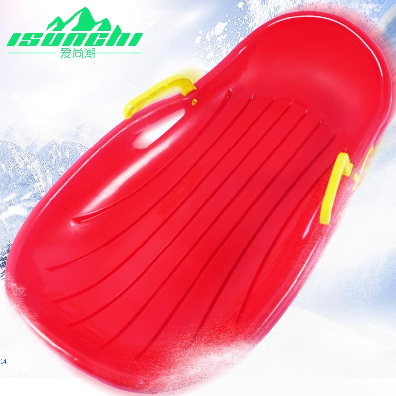爱尚潮加厚豪华滑雪板 成人儿童滑草板滑沙板 带刹车雪橇车雪爬犁