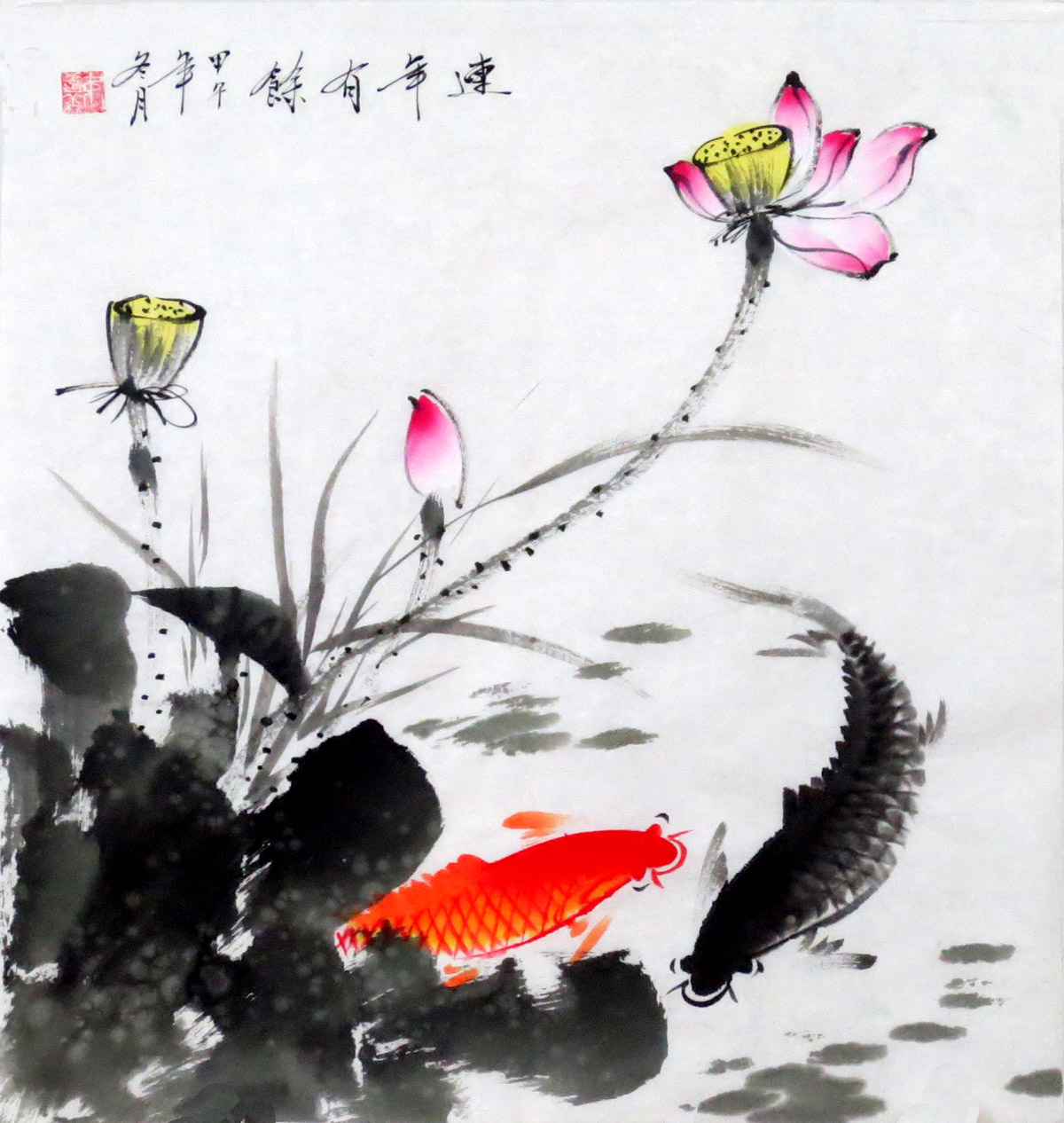 纯手绘水墨风水客厅国画字画善义三尺斗方花鸟荷花鱼yt5-2-5-48