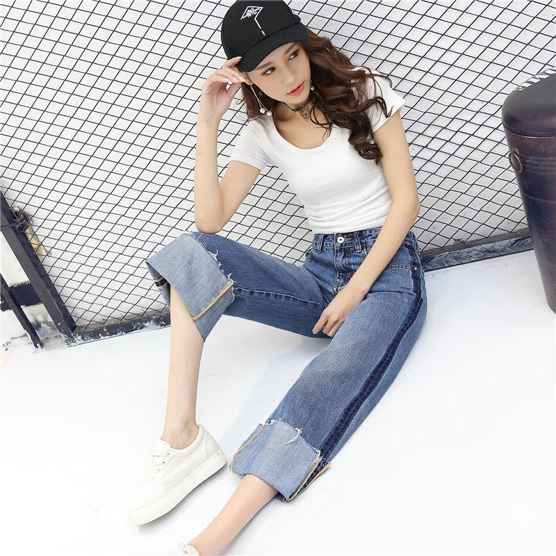 牛仔裤阔腿裤女九分高腰韩国学生宽松直筒卷边七分bf2017春装新款