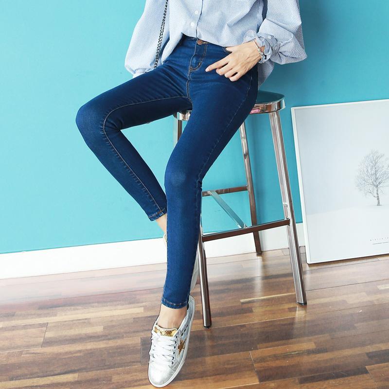 韩版牛仔裤女长裤高腰春季九分裤紧身小脚裤弹力学生黑色铅笔裤子