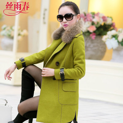 Drizzle hot spring 2014 winter new Korean version of Slim woolen coat long section of double-breasted wool coat Girls