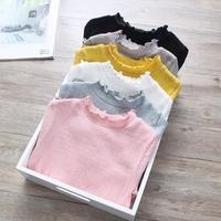 超洋气女童打底衫宝宝棉质折皱弹力长袖T恤2017春装新款儿童装