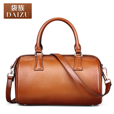 Boston pillow new winter female header layer cowhide leather bag European and American fashion retro shoulder portable packet