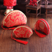 婚庆用品结婚喜糖盒子 婚礼创意喜糖包 中式锦缎流苏喜糖袋包装盒