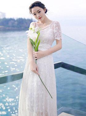 波西米亚长裙2016春夏新品复古刺绣蕾丝连衣裙海边度假沙滩裙