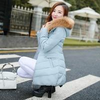 2015冬装新款韩版羽绒服修身显瘦收腰外套女中长款真毛领加厚衣服