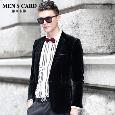 Mons Card 2014 new winter men's business casual gold velvet velveteen suit then west coat