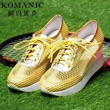 柯玛妮克夏新款休闲网布牛皮女鞋 系带舒适厚底运动风坡高跟单鞋图片
