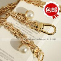 【包邮】高档包链 浅金色 包链子配珍珠 包带链条肩带包包配件