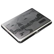 正品双枪烟具不锈钢自动烟盒超薄双面 315镀铬风车 可刻字