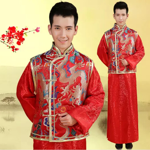 Groom Men Xiu Chinese wedding dress winter long-sleeved red tunic ...