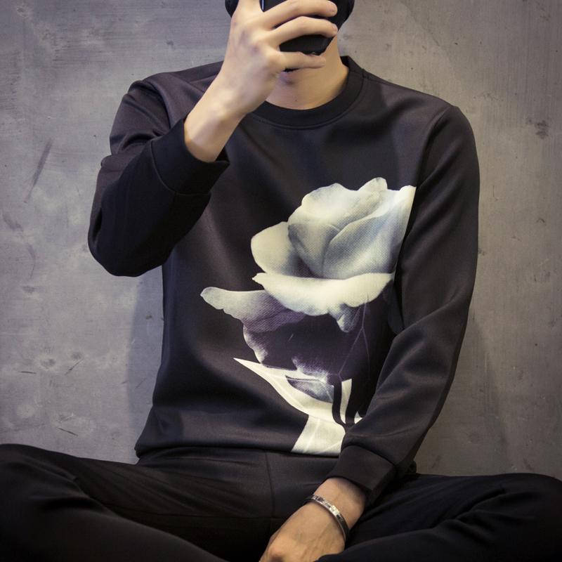 秋季日系印花太空棉长袖T恤男士加肥加大码体恤圆领外套潮流男装