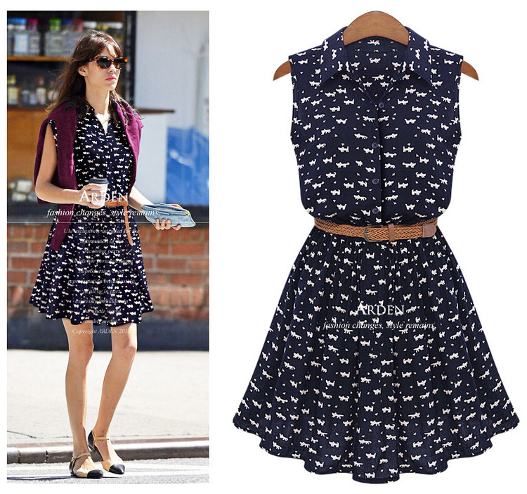 2015 summer fashion printing long sleeveless dress whom bigger sizes show thin waist,  the a-line skirt