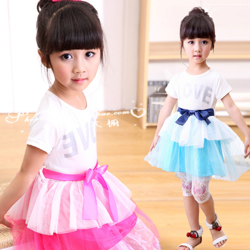 2014 summer girls skirt kids clothing princess dress cotton with veil Taobao Agents
