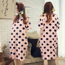 睡裙女夏季纯棉短袖中长款睡裙短袖公主韩版甜美薄款全棉睡裙夏天