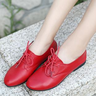 春秋皮鞋平底单鞋平跟舒适百搭妈妈鞋真皮软底大码孕妇女鞋子