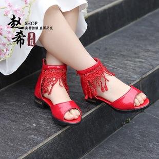 16夏季新款童凉鞋 蕾丝高帮透气凉鞋 女童韩版公主鞋清仓童鞋